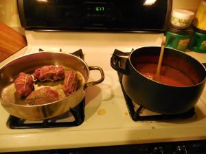 Braciole and Tomato Sauce