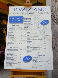 Italian restaurant menus for pizza in Italy may be similar to this example
