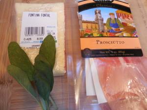 Prosciutto, Fontina cheese, sage