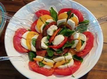 Tomato, Mozzarella, and fresh basil salad