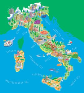 Colorful depiction of the boot of Italy with icons depicting the major tourist attractions in each city; for instance, the leaning tower in Pisa and the Duomo in Florence