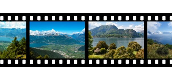 Lago Como, Italy image superimposed on a movie strip